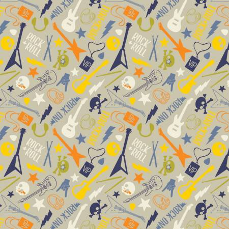 Rock On Grey Rock On Mixed Music Motifs Fabric by the yard