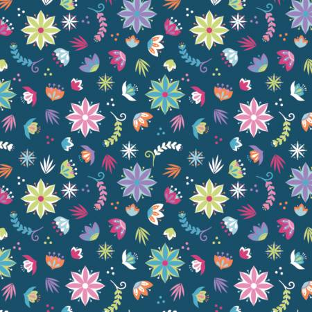 21191205 Navy Assorted Flowers Llama Drama Camelot