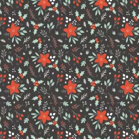 Reindeer Lodge : Winter Florals Charcoal - #21191701-02