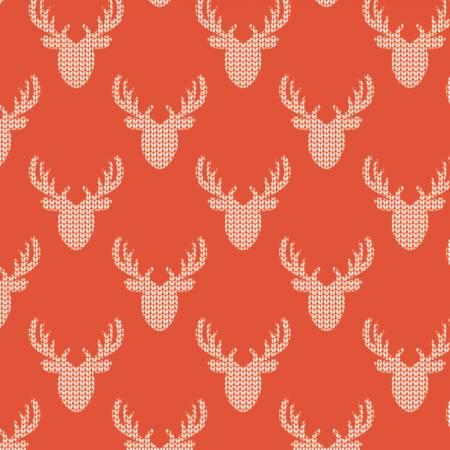 Reindeer Lodge Knit Look Deer Red