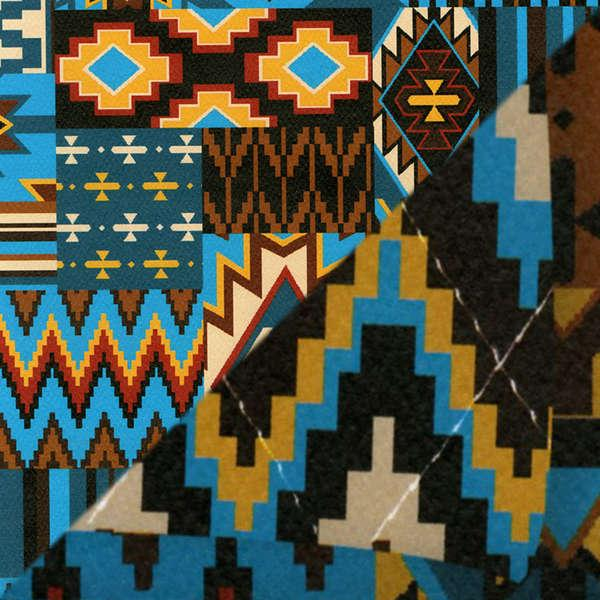 Blue Aztec Double Face Quilted