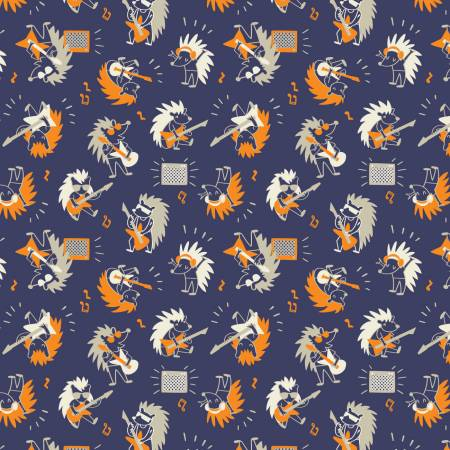 Rock On Hedgehog Rock Star on Navy Fabric by the yard
