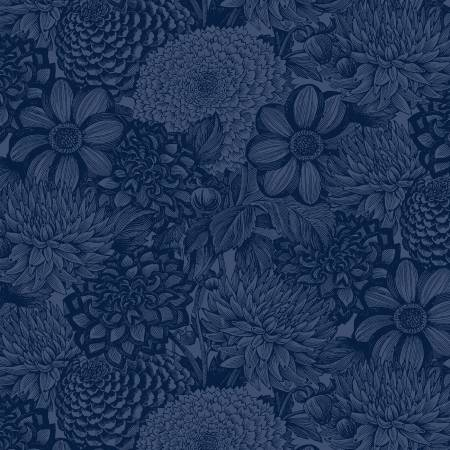 Navy Floral Toile 108in Wide Back
