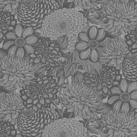 Dark Grey Floral Toile 108in Wide Back