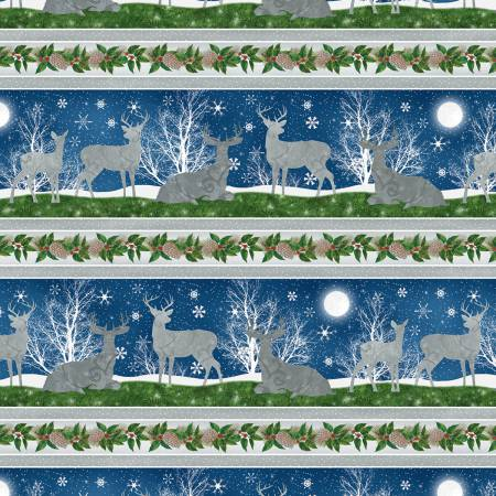 Deer in the Snowy Night:   Under The Pines Repeating Stripe by Color Baker for Wilmington Prints