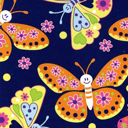 Navy Butterflies Soft Plush Fleece