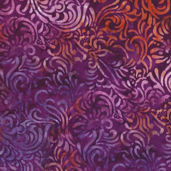 Batik purple and orange leaf swirl