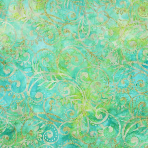 BATIK SCROLL LEAVES AQUA GREEN YELLOW 22109745 Batavian Batiks