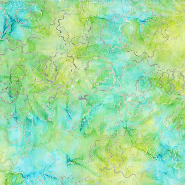 BATIK PUZZLE ROUNDS AQUA GREEN YELLOW 22113574 Batavian Batiks