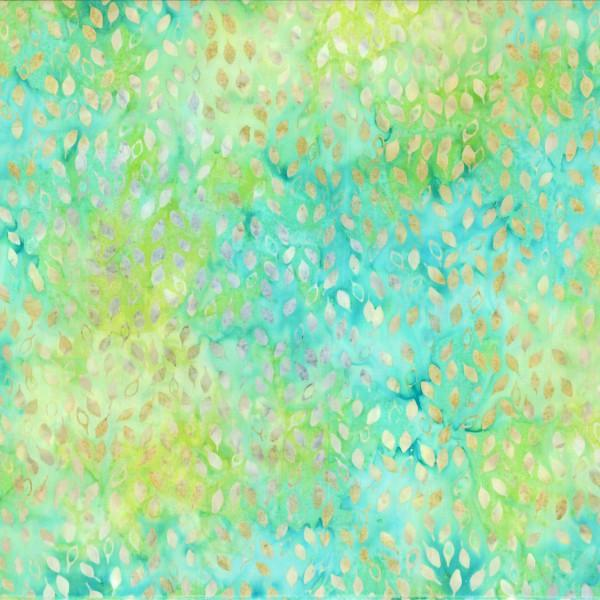 BATIK FALLING LEAVES AQUA GREEN YELLOW 22115574 Batavian Batiks