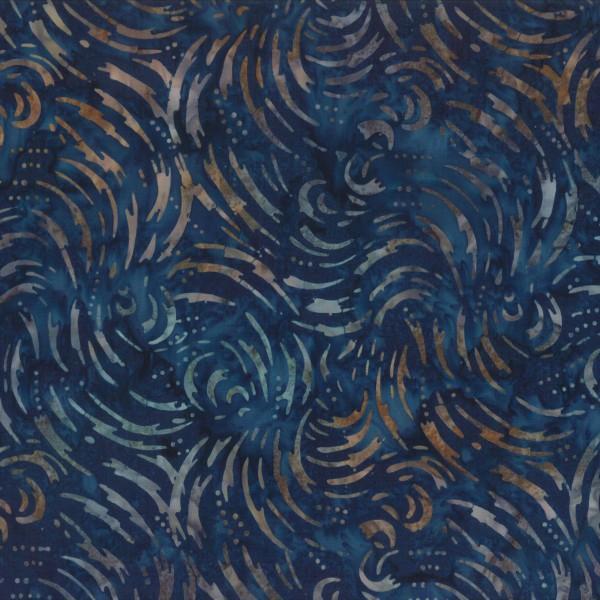 Batik midnight blue swirls