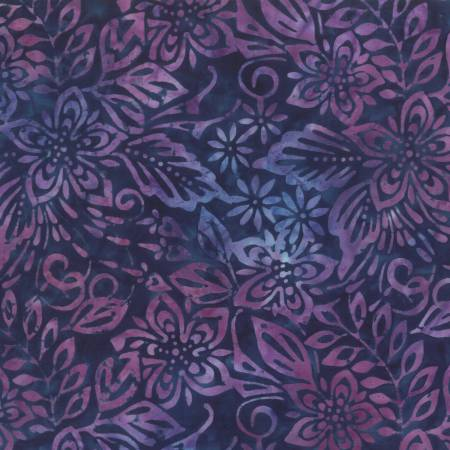 Blue/Pink Packed Floral Mix Batik