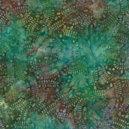 BATIK TEAL BROWN LEAVES WITH CIRCLES 22186726 Wilmington Batiks