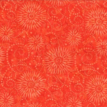 2589 Orange Flower Burst Batik