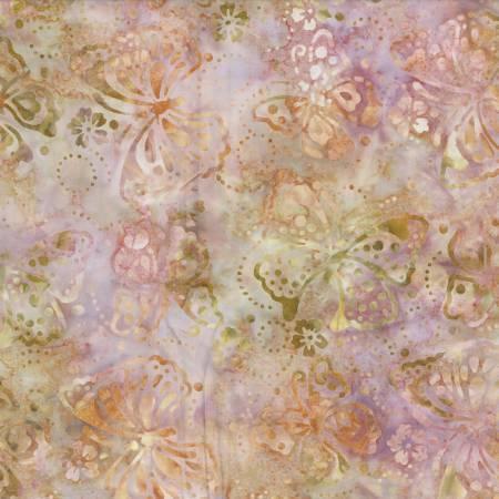 Coral/Tan Butterflies Batik