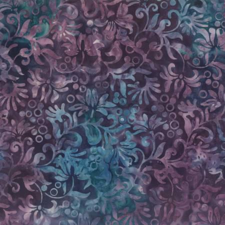 Dark Purple Winding Vines Batik
