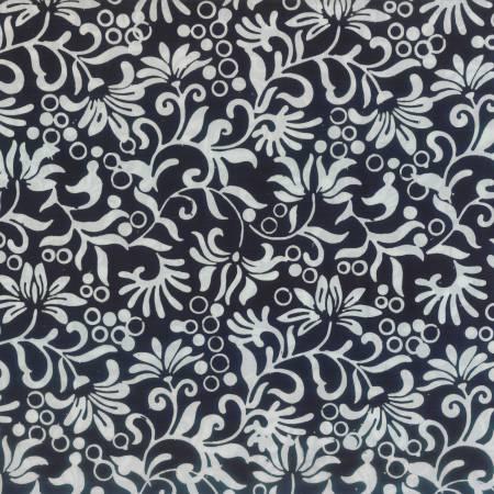 Black Winding Vines Batik