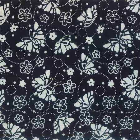 Black Butteflies & Rings Batik WP011020