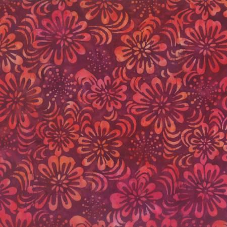WILM- Red Sparkly Floral Batik