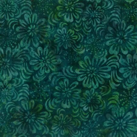 WILMINGTON Teal Sparkly Floral Batik
