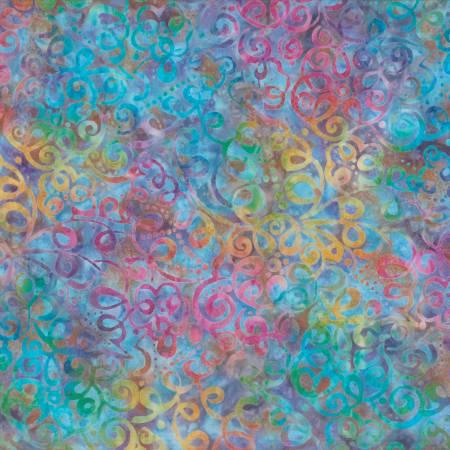 Star Links by Wilmington Prints-22231-436-Blue/Purple Squiggle Floral Batik