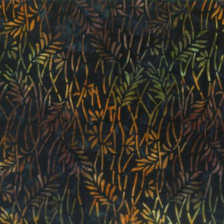 Blue/Brown Delicate Leaves Batik