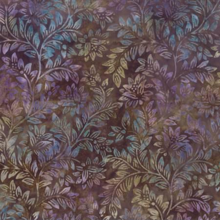 1400 22248 246 Dark Brown Floral Vine Batik for Wilmington Batiks. 100% cotton 43 wide
