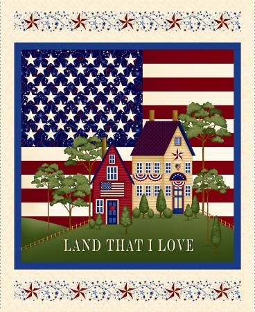 Land That I Love- Cream Banner Panel 36in