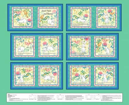 Henry Glass & Co. Aqua Sweet Tweet & Bunny Book Panel 36in x 44in
