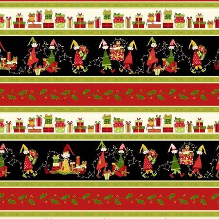 Christmas Elves- Black Border Stripe