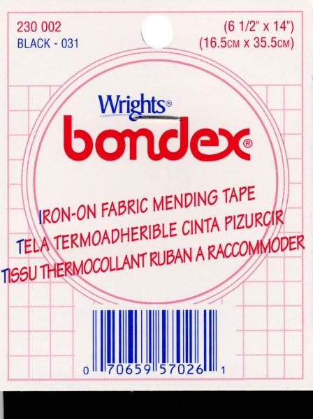 Iron on Mending Fabric Black 6 1/2in x 14in