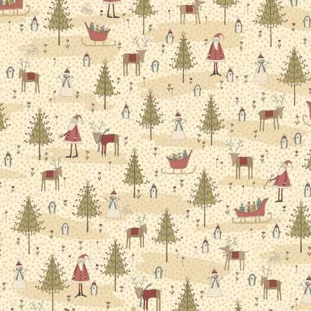 Winter Wonderland - Cream Winter Wonderland Scene - by Annie Downs for Henry Glass