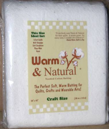 Batting Warm & Natural Cotton 34in x 45in 24ct Bagged