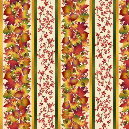 Cream Autumn Border Stripe 24in repeat  (F10172
