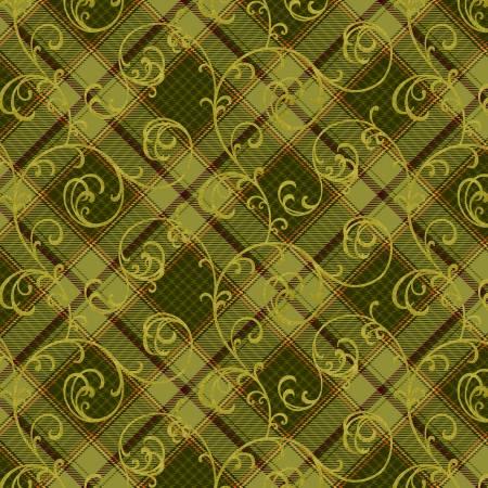 Green Plaid Scroll