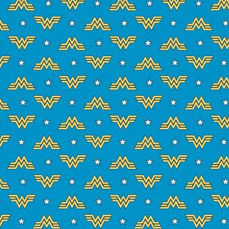 Blue Wonder Woman 1984 Logo & Stars  Fabric by the Yard