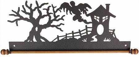 12in Haunted House Charcoal Hanger with Dowel Holder