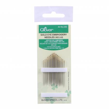 Clover Embroidery Needles - Gold Eye Size 3/9 16ct pack
