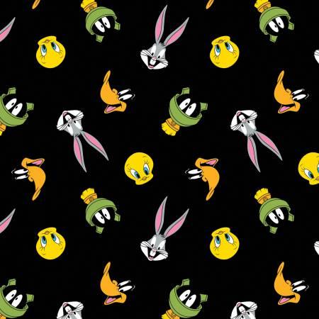 Black Looney Tunes Tossed Faces