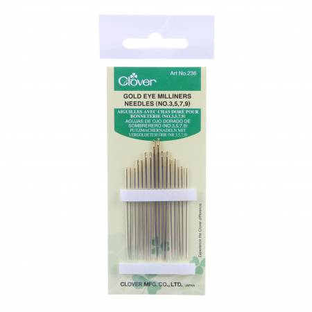 Clover Gold Eye Milliners Needles Size 3/9 16ct