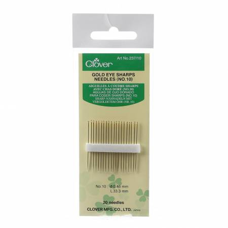 Clover Gold Eye Sharps Needles Size 10 20ct