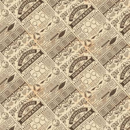 Harry Potter Wizarding World Brown Quidditch at Hogwarts Fabric by the Yard                      ts Harry Potter Fabric by the yard