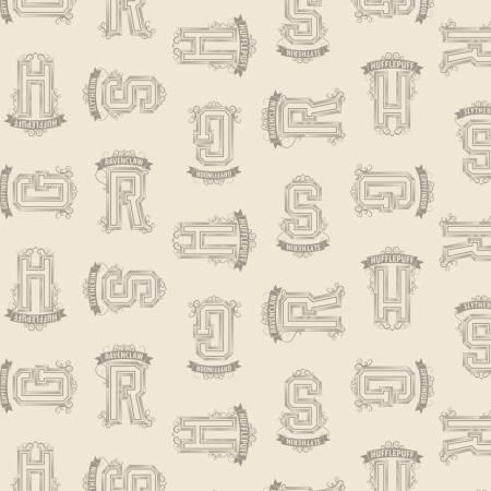 Camelot Fabrics - Harry Potter - Cream Houses Tonal