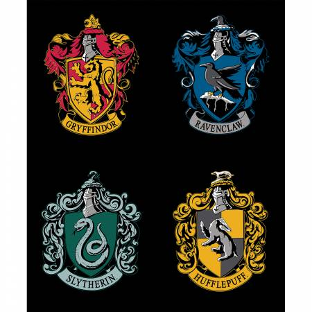 Camelot Fabrics - Harry Potter - Black House Crests Panel