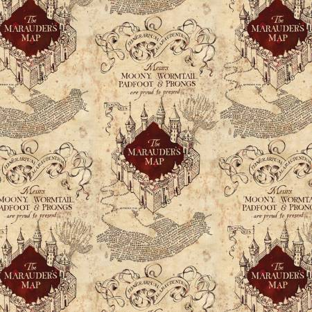 Cream Marauders Map Harry Potter