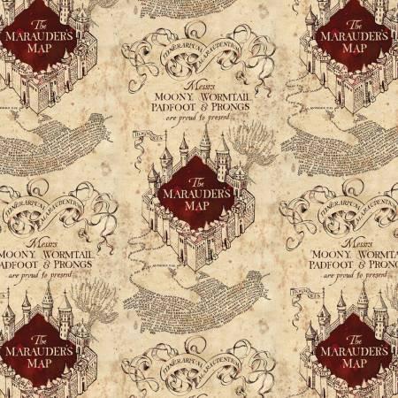 Camelot Fabrics - Harry Potter - Cream Marauders Map on Knit