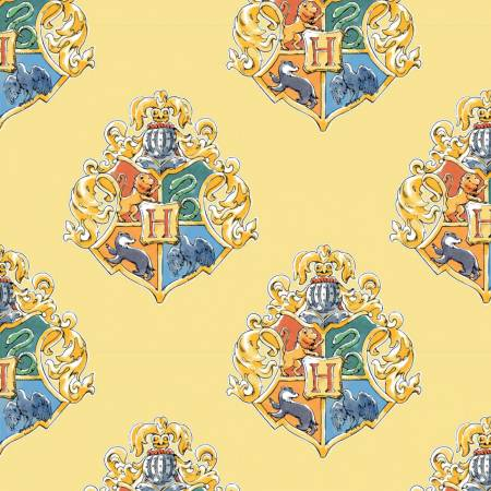Harry Potter School Crest on Yellow - Fabric by the yard