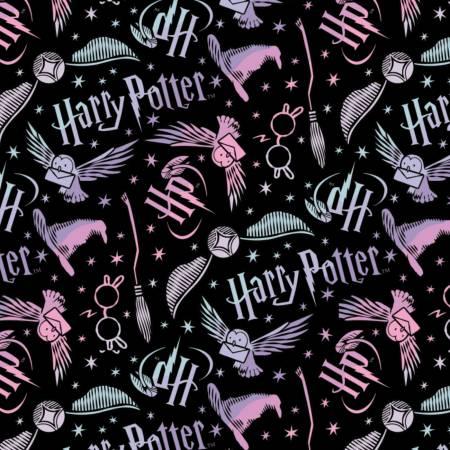Black Harry Potter Tossed Elements Flannel