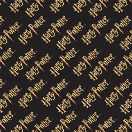 Camelot Fabrics - Harry Potter - Logo w/Metallic Double Gauze - Black