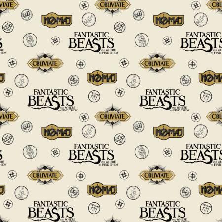 Fantastic Beasts - Cream Sayings & Symbols Flannel
